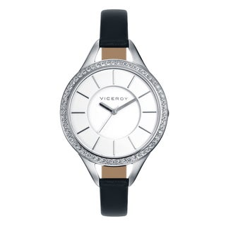 Viceroy Womens 42118-07 Black Calfskin Leather Watch