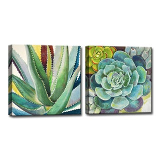 Oliver & James Succulent Wrapped Canvas Art Set (2 Pieces) (3 options available)