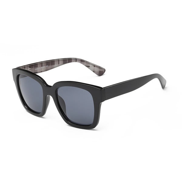 ebe1509bbd Shop Shiny Black With Dark Grey Lens 52-millimeter Square Sunglasses ...