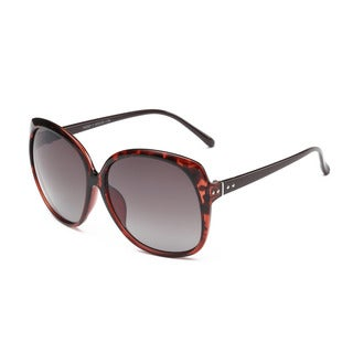 Gradient Dark Red Square Sunglasses with Dark Grey Lens and Shiny Black Arms