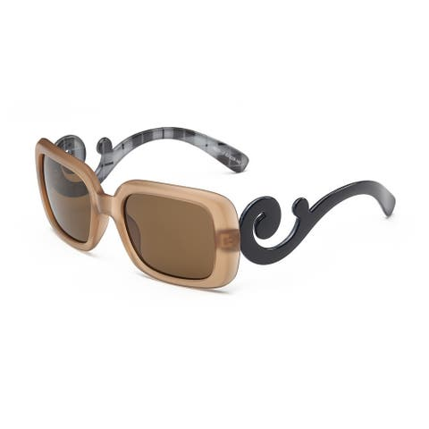 Light Chestnut Acetate 53mm Square Sunglasses with Tawny Lens and Shiny Black Curly Arms