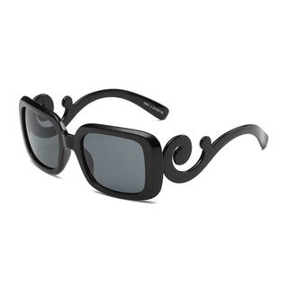 Square Sunglasses With Dark Grey 53-millimeter Lens and Shiny Black Curly Arms