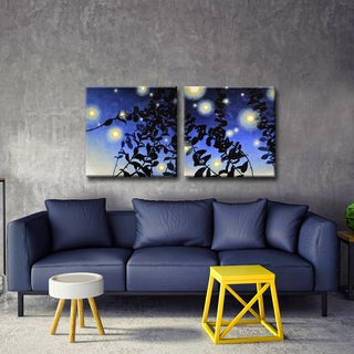 Ready2HangArt 'Fireflies I/II' by Norman Wyatt Jr. 2-Pc Wrapped Canvas Art Set - Blue