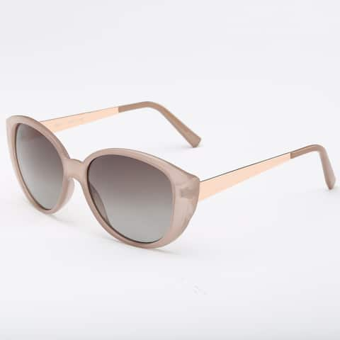 Light Pink Frame Square Sunglasses With Dark Grey 50-millimeter Lens and Beige Arms