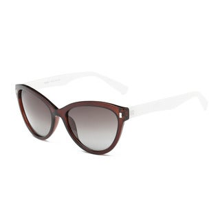 Chestnut Frame Cat-eye Sunglasses With Green Grey 55-millimeter Lens and White Arms