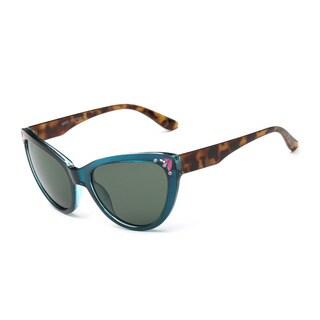Blue Framed Cat-eye Sunglasses With Green-grey 51-millimeter Lenses and Tortoiseshell Arms