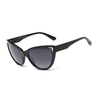 Shiny Black Framed Cat-eye Sunglasses with 51-millimeter Dark-grey Lens and Shiny Black Arms