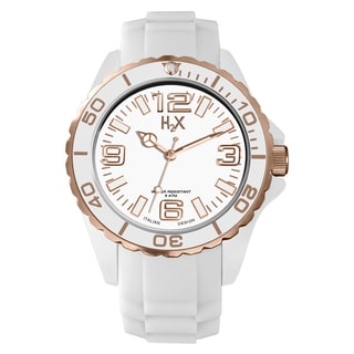 H2X Women's SW382DWR Reef Stones Luminous Water Resistant White Soft Rubber Watch