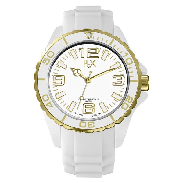 H2X Women's Reef Stones Luminous Water Resistant White Soft Rubber Watch