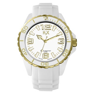 H2X Women's SW382DWG Reef Stones Luminous Water Resistant White Soft Rubber Watch