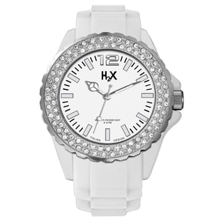 H2X Women's SS382DW1 Reef Stones Luminous Water Resistant White Soft Rubber Watch