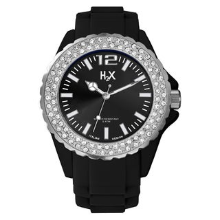 H2X Women's SS382DN1 Reef Stones Luminous Water Resistant Black Soft Rubber Watch (Option: Black)
