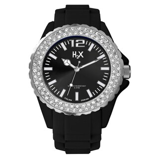 H2X Women's SS382DN1 Reef Stones Luminous Water Resistant Black Soft Rubber Watch