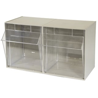 Akro-Mils TiltView Tan Plastic 2-bin Cabinets
