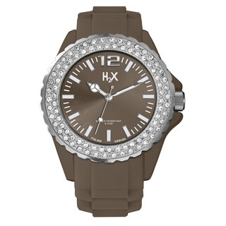 H2X Women's SS382DM3 Reef Stones Luminous Water Resistant Brown Soft Rubber Watch