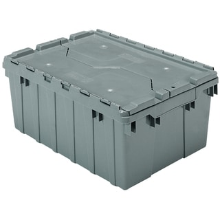Grey Plastic 21.5-inch x 15-inch x 9-inch 8.5 gal Attached Lid Container