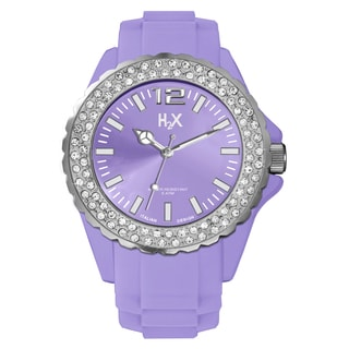 H2X Women's SS382DL1 Reef Stones Luminous Water Resistant Purple Soft Rubber Watch