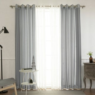 Aurora Home Mix and Match Muji Sheer and Ikat Pinstripe 84-inch Grommet Curtain Panel Pair (Pack of 4)