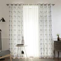 "Aurora Home Mix & Match Arrow Print Room Darkening and Sheer 4 Piece Curtain Panel Set - 52""W x 84""L"