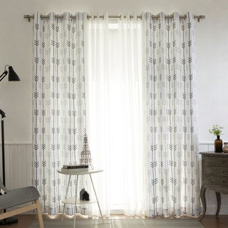 Aurora Home MIX & MATCH CURTAINS Arrow Print White Room Darkening and Muji Sheer 84-inch Grommet 4-piece Curtain Panel Pair