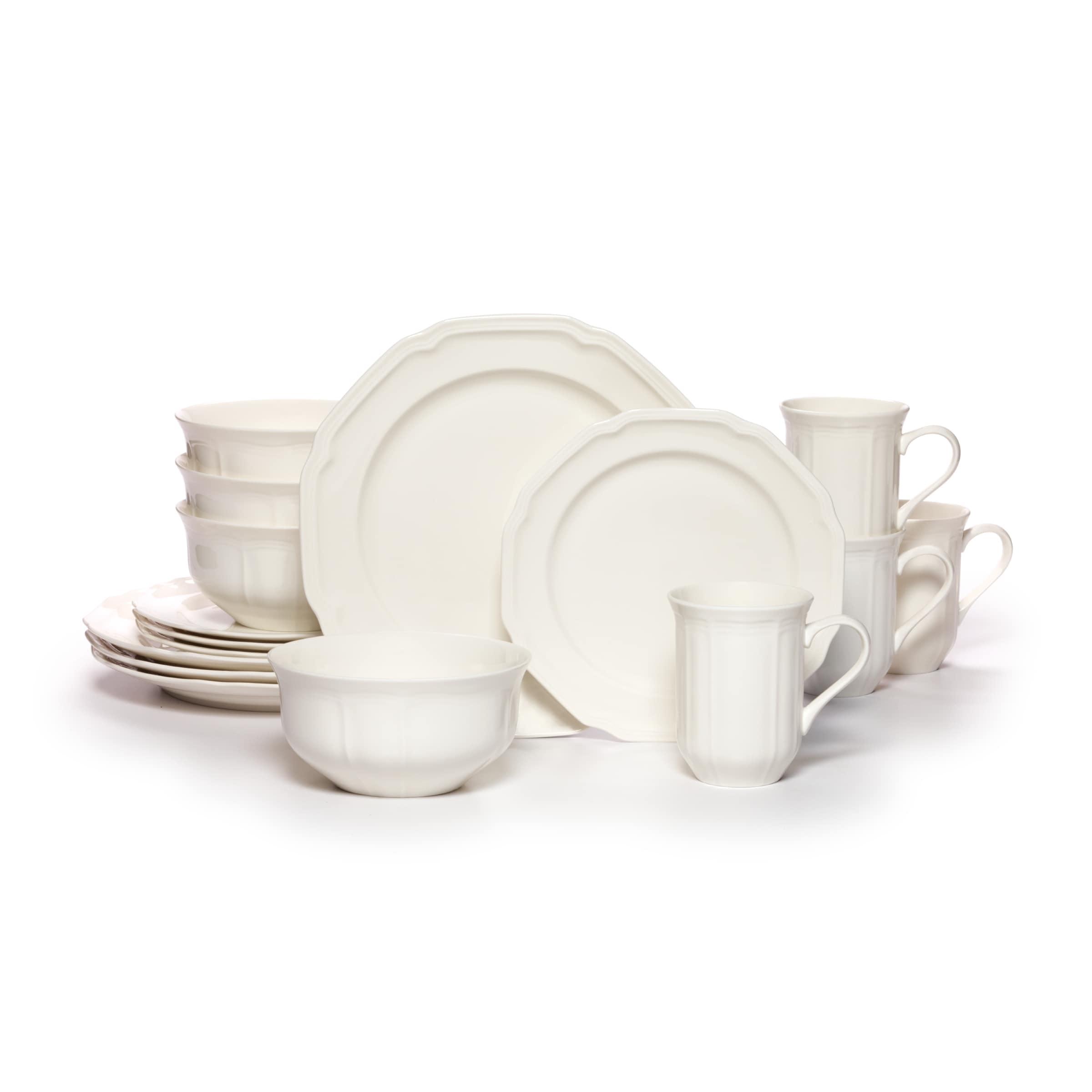 Mikasa Round Antique White Porcelain 16 Piece Dinnerware Set Overstock 12094870