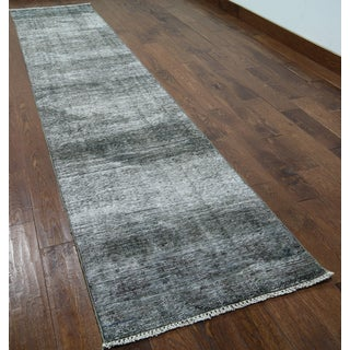 Hand-knotted Oriental Overdyed Grey Wool Rug (2'6 x 12'1)