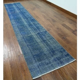 Blue Wool Hand-knotted Oriental Overdyed Runner Rug (2' 6 x 12' 4)
