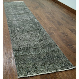 Oriental Hand-knotted Overdyed Green Wool Runner Rug (2' 6 x 10' 10)