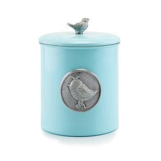 'Lauren BlueBird' Blue Stainless Steel 4-quart Cookie Jar w/Bird Medallion & Knob, Fresh Seal Cover