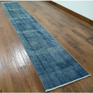 Oriental Blue Wool Overdyed Hand-knotted Rug (2'1 x 12'4)