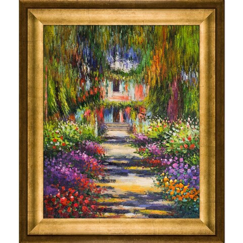 Claude Monet 'Garden Path at Giverny' Hand Painted Framed Canvas Art