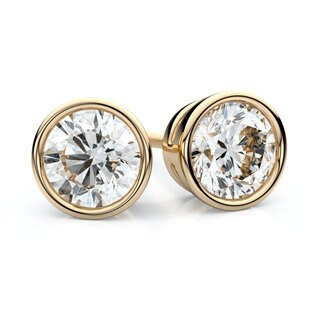 IGI Certified 14k Yellow Gold Bezel Round Diamond Stud Earrings 1ctw , F-G , VS