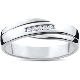 10k White Gold 1/6ct TDW Diamond Channel Set Polished Men's Wedding Ring (I-J,I2-I3)