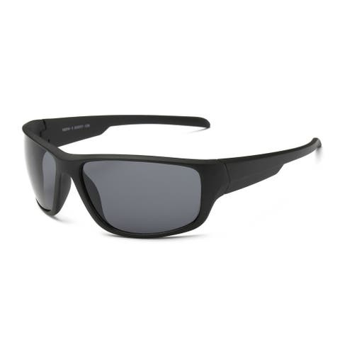 Matte Black Frame Sports Sunglasses with Dark-grey 68-millimeter Lens