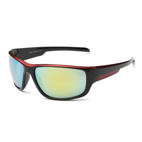 Shiny Black and Red Frame 68-millimeter Sport Sunglasses with Golden Tinted Lens. Opens flyout.
