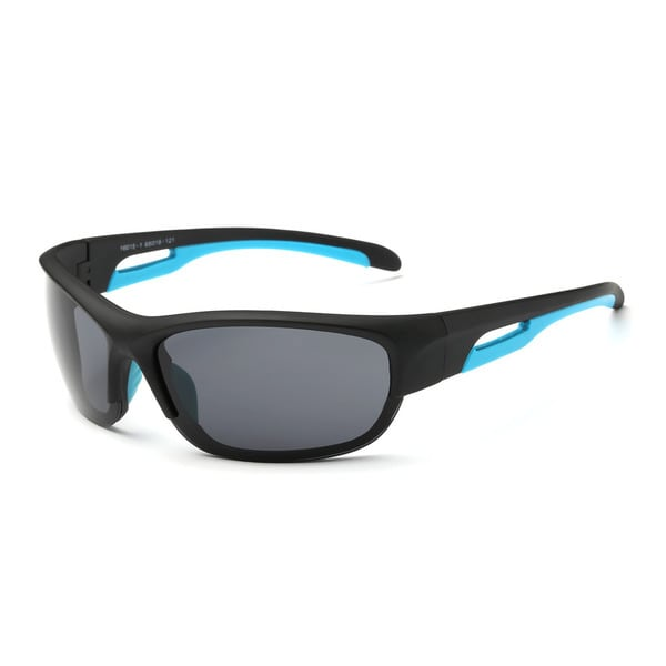 Matte Black Acetate Frame Sport Sunglasses with Dark Grey Lens and Blue 68-millimeter Hollowed-out Arms - Black/Blue. Opens flyout.