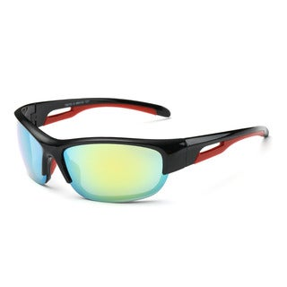 Shiny Black Frame Sport Sunglasses with Yellow-tinted Lens & Red Hollowed-out Arms