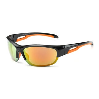 Shiny Black Frame 68mm Sport Sunglasses with Orange Tinted Lens and Orange Hollowed-out Arms