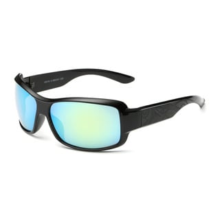Shiny Black Framed Sport Sunglasses With Orange 65-millimeter Tinted Lens