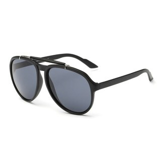 Matte Black Frame Aviator Sunglasses With Dark Grey 46-millimeter Lens