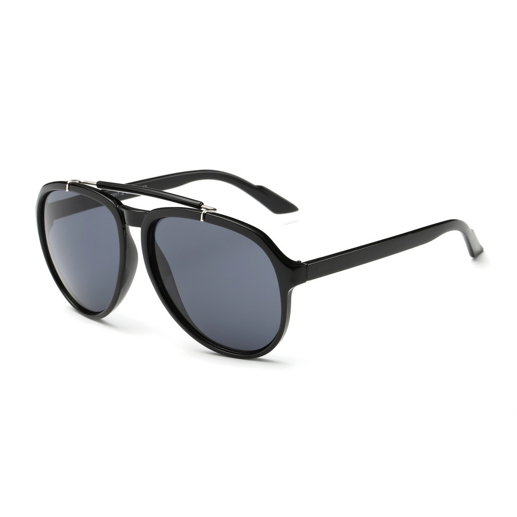 dce96d6bb39 Details about Shiny Black Acetate Frame Aviator Sunglasses with Dark Grey  46-millimeter Lens