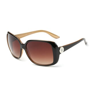 Dark Brown Frame Square Sunglasses with Tawny 58-millimeter Lens and Chestnut-inside Arms