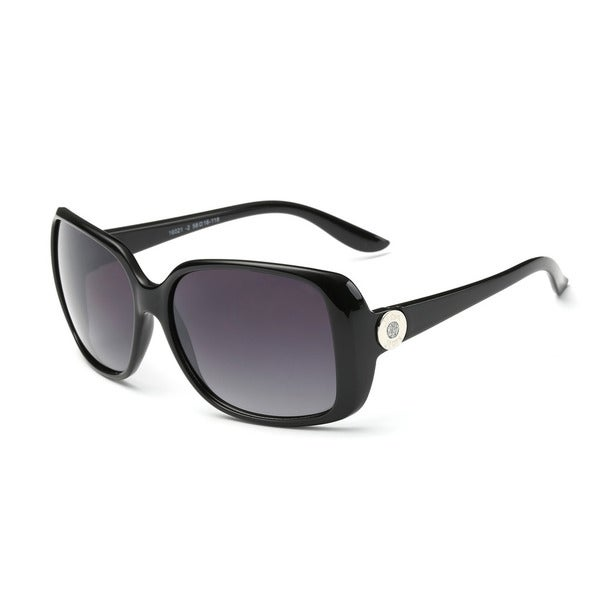 Shiny Black Frame Square Sunglasses with Dark Grey 58-millimeter Lens. Opens flyout.