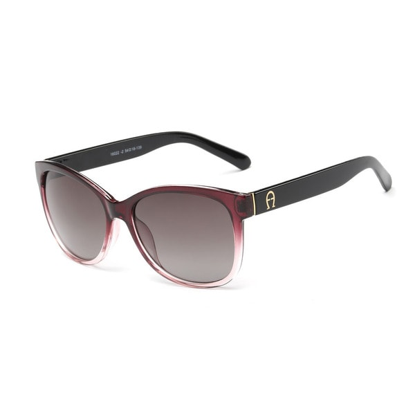Shiny Black and Gradient Dark Red Square Frame Sunglasses with Dark Grey Lens. Opens flyout.