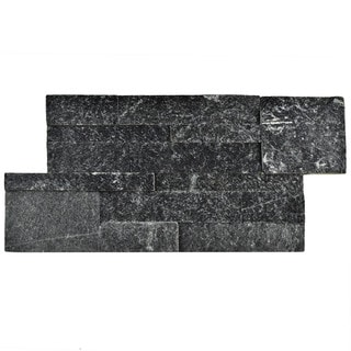 SomerTile 7x13.5-inch Piedra Black Quartzite Natural Stone Wall Tile (Pallet of 48)