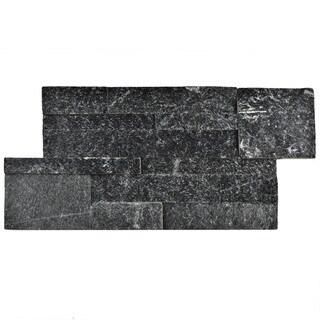 SomerTile 7x13.5-inch Piedra Black Quartzite Natural Stone Wall Tile (48 tiles/31.5 sqft.)