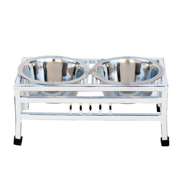 Indipets Luxe Craft White Steel Pet Bowl. Opens flyout.