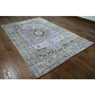 Purple Silk Oriental Persian Hand-knotted Rug (5'1 x 8')