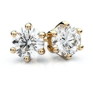 IGI Certified 14k Yellow Gold 6-prong Round Diamond Stud Earrings 1ctw , F-G , VS