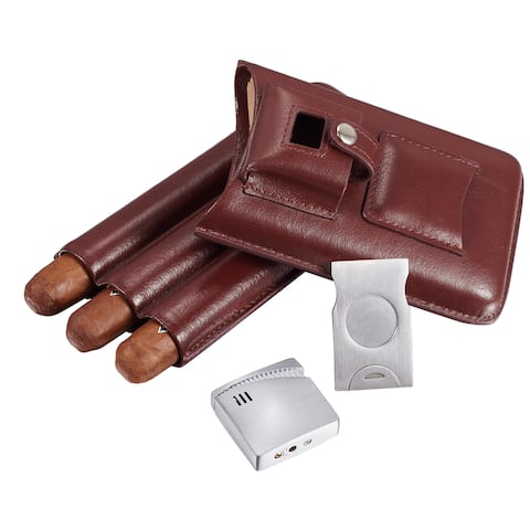 Visol Renly Brown Leather Cigar Case with Lighter and Cutter